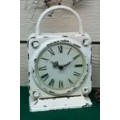 "Distressed Cream Iron Clock with Handle 11.75"" x 7.5"""