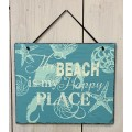 "Beach Happy Place Slate Hanger 10.25"" x 12.5"""
