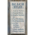 "Beach Rules Sign 30"" x 14.25"" x 1.5"""