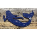 "Blue Distressed Mermaid Wall Hanger 20"" x 12.5"""