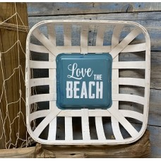 "Love The Beach Tobacco Basket Sign 17"" x 17"" x4"""