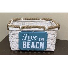 "Love The Beach Woven Basket w/Rope Handles 7.75"" x 19.75"" x 9.75"""