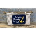"Let Your Dreams Woven Basket w/Rope Handles 7.75"" x 19.75"" x 9.75"""