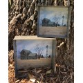 "Forgotten Fields Metal Trays (set of 2) 8"" x 8"" x 3"" & 6"" x 6"" x 2.5"""