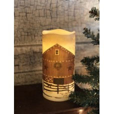 Christmas Barn LED Pillar Candle with Timer 6""