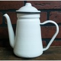 Black Rim Enamelware Coffee Pot 7.5""
