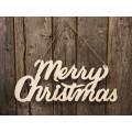 "Cream Distressed Metal Merry Christmas Cutout 10"" x 24"""
