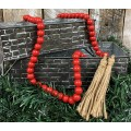 Red Wood Bead Strand   60""