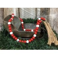 Red/White Wood Bead Strand    60""