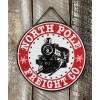 """North Pole Freight Co Embossed Metal Hanging Sign 12"""""""