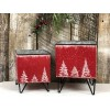 """White Washed Red Containers with Trees (set 2) 8""""x6.5""""x6.5"""" & 6.5""""x5.75""""x5.75"""""""