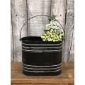 """Black Distressed Oval Container w/ Handle 12"""" x 8"""" x 3.75"""""""