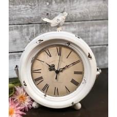 "White Distressed Bird Clock 11""x9.5""x5"""
