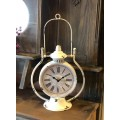 "Cream Distressed Vintage Clock with Handle 15.75"" x 9"" x 5"""