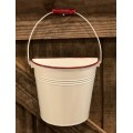 "Red Rim Enamelware Bucket Wall Hanger 6.5"" x 7"" x 3.75"""