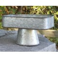 "Galvanized Square Tray on Stand 9"" x 9"" x 9"""
