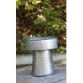 "Galvanized Round Tray on Stand 6"" x 6"" x 7"""