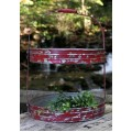 "Red Distressed Metal 2-Tier Tray 16"" x 12"" x 12'"