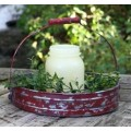 """Red Distressed Metal Tray with Handle 7.5"""" x 10"""""""
