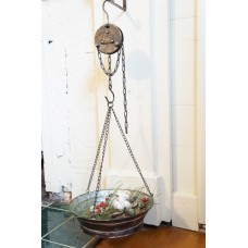 """Black Distressed Metal Hanging Tray w/Pulley 33.5"""" x 13"""" x 3.5"""""""