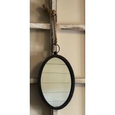 "Black Distressed Frame Oval Mirror 13"" x 7.75"""