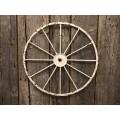 "Cream Distressed Wagon Wheel Small 16"""