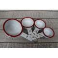 Red Rim Enamelware Measuring Cups