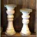 "Gray Rim Candle Sticks (set of 2) 8"" & 7"""