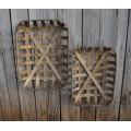 "Tobacco Basket Replicas Rectangle (set of 2) 22"" x 15.5"" x 6"" & 20.5"" x 14"" x 5"""