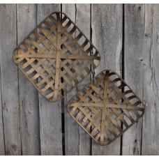 "Tobacco Basket Replica Square (set of 2) 22"" x 22"" x 5.5"" & 20"" x 20"" x 4.5"""