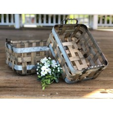 """Picnic Baskets with Metal Straps (set of 2) 6"""" x 9"""" 13"""" & 7"""" x 12"""" x 16"""""""