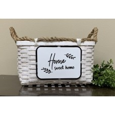 "Home Sweet Home Woven Basket w/Rope Handles 7.75"" x 19.75"" x 9.75"""