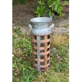 """Bamboo/Metal Strap Milk Can Small 14"""" x 5"""""""