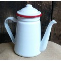 Red Rim Enamelware Coffee Pot 7.5""
