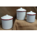 "Red Rim Enamelware Canisters (set of 3) 5"" x 4.5"" & 4.25"" x 4"" & 3.5"" x 3"""