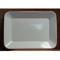 "Red Rim Enamelware Tray 14.5"" x 10.5"""