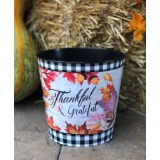 "Hello Autumn Buffalo Check Fall Leaves Bucket 8""x8.25"""