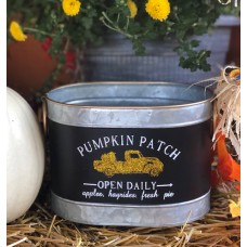 """Pumpkin Patch Gold Truck Oval Container 5""""x7.25""""x5"""""""