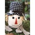 "Black Plaid Hat Scarecrow Head Small 8.5"""