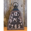 "Black Distressed Cow Bell Clock 12"" x 7"" x 3.25"""