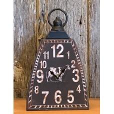 "Black Distressed Cow Bell Clock 12"" x 7"" x 3.25"""