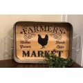 "Farmers Market Tray with Rooster 3"" x 14"" x 10"""