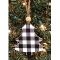 "Black Checkered Tree Ornament 4""x4"""