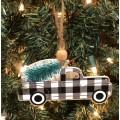 "Black Checkered Truck Ornament 2.75""x5"""