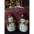 "Resins Snowmen with Signs (set of 2) 6.5"" x 4"""