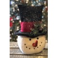 Black Hat Red Band Snowman Head Large 12""