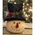 Black Hat Red Band Snowman Head Small 8.75""