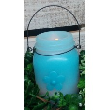 """Blue Flower LED Keeping Jar Candle with Timer 5.25"""""""