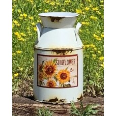 "Cream Distressed Sunflower Milk Can 8.75"" x 5"""