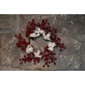 Red Berry Cotton Candle Ring 4.5""